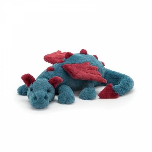 Stofftier Drache Dexter Dragon - Medium - 50cm - blau/rot
