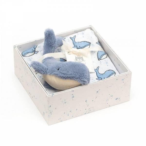 Geschenkset Stofftier Wal und Musselintuch Wilbur Whale
