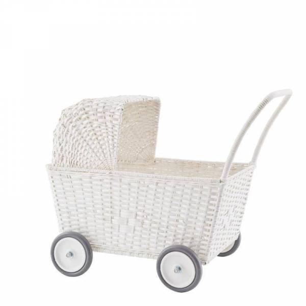 Puppenwagen Rattan Stroller - weiß