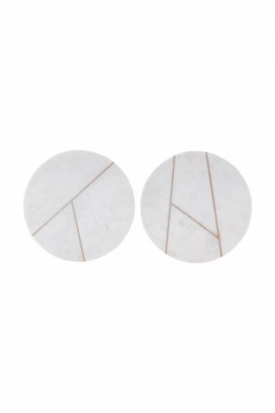 Marmorplatte, rund 18cm - weiß