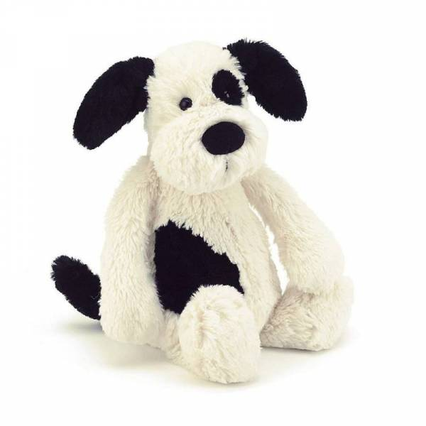 Stofftier Hund - Bashful Black & Cream Puppy Medium - H31cm - schwarz/weiß