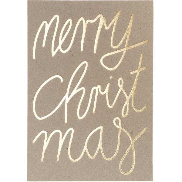 Postkarte Merry Christmas FSC Mix Graukarton/Gold B6