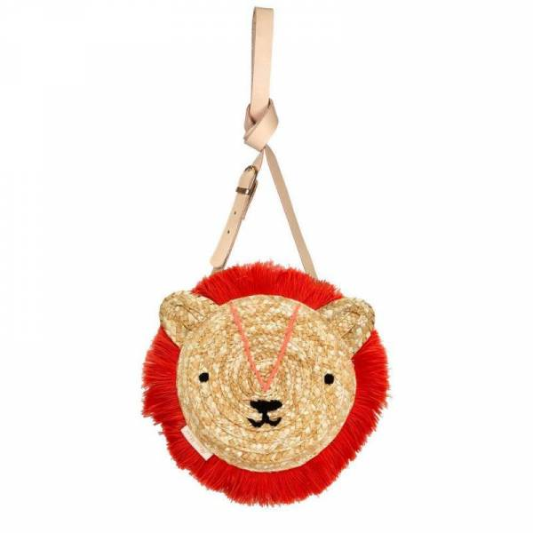 Woven Lion Cross Body Straw Bag