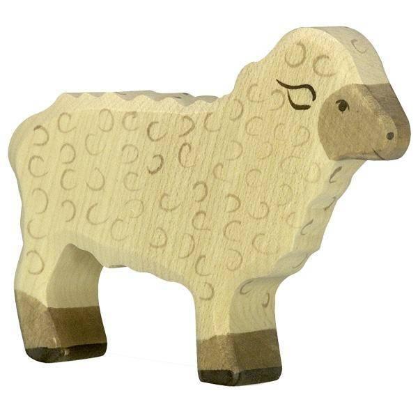 Schaf Kopf hoch Holzfigur