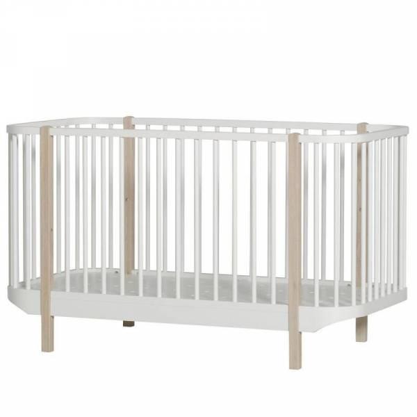 Wood Baby- und Kinderbett, 70x140 cm, weiß/Eiche
