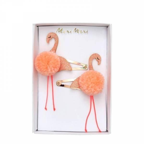 Flamingo Pompom Hair Clips