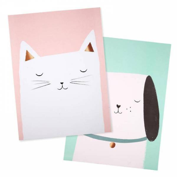 Cat & Dog Poster - 2er Set 30x40cm