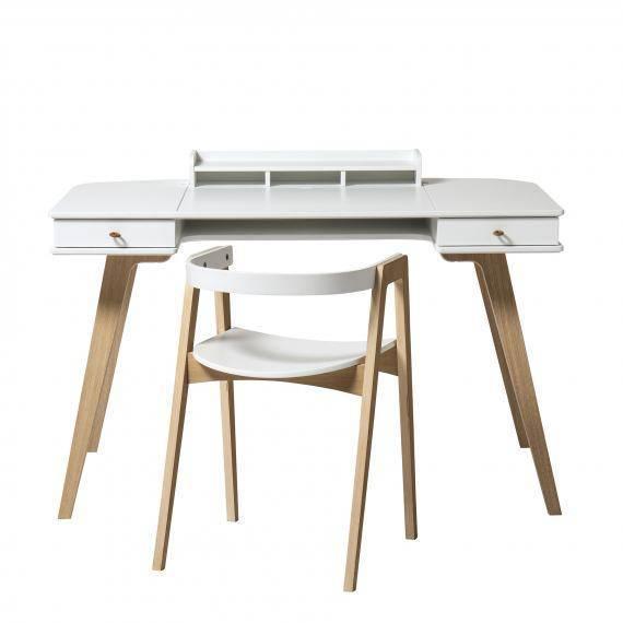 Set Schreibtisch H 72,6cm & Armlehnstuhl - weiß/Eiche