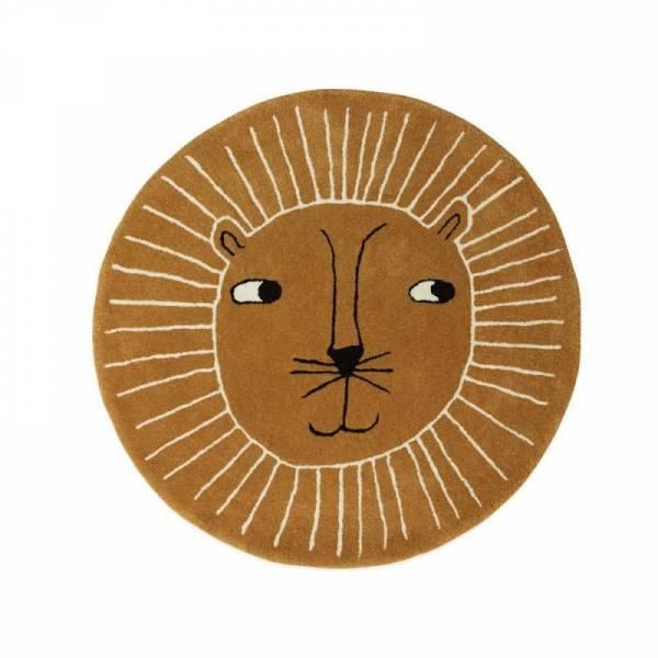Kinderteppich Ø 95 cm Löwe - caramel