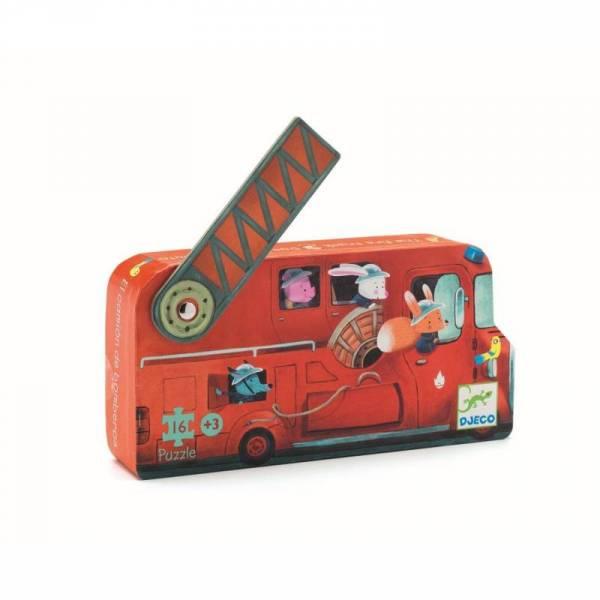 Silhouette Puzzle Mini - Feuerwehrauto - 16 Teile