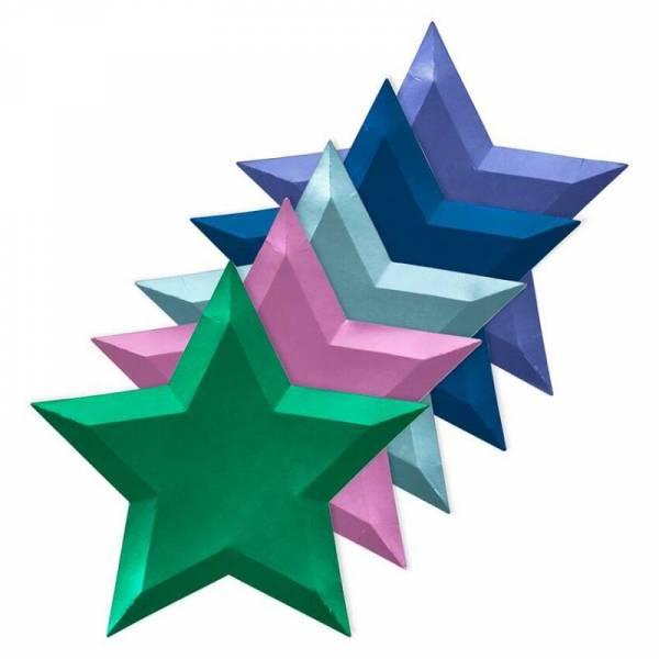 Metallic Stern-Pappteller - 8 Stück farblich sortiert