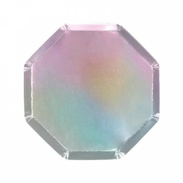 Pappteller Mittel - Silver Holographic Side Plates