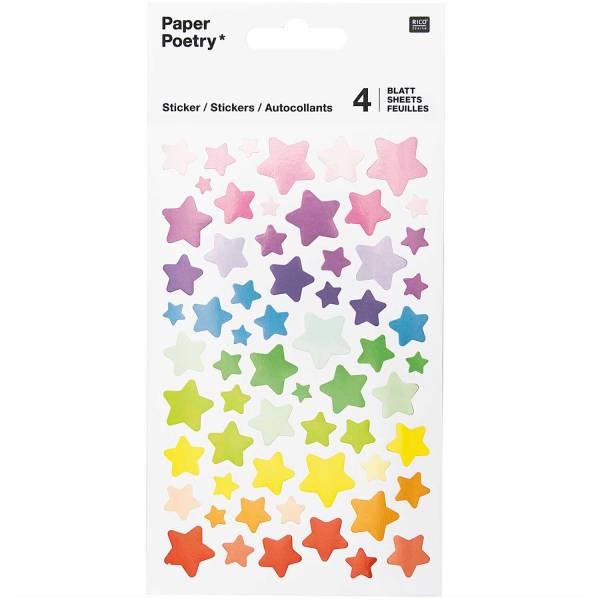 Sticker Sterne, Bunt FSC Mix 4 Bögen 10x19cm