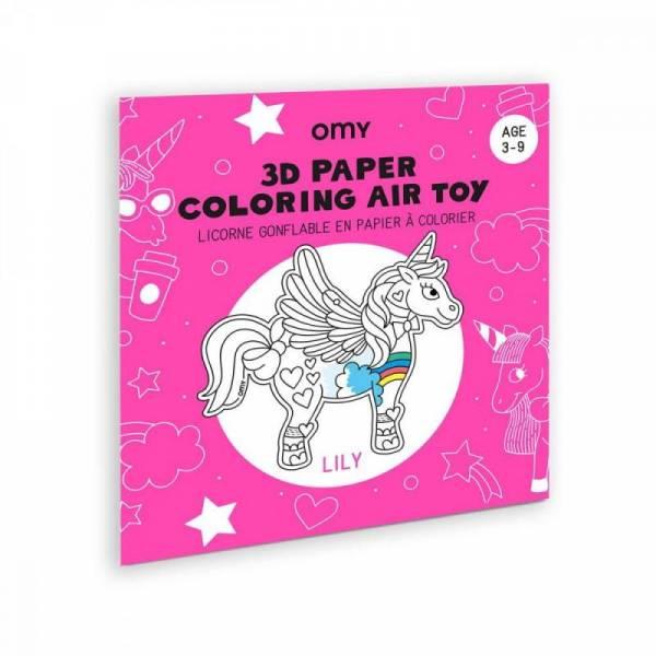 Air Toy 3D - Aufblasbares Einhorn aus Papier zum Anmalen
