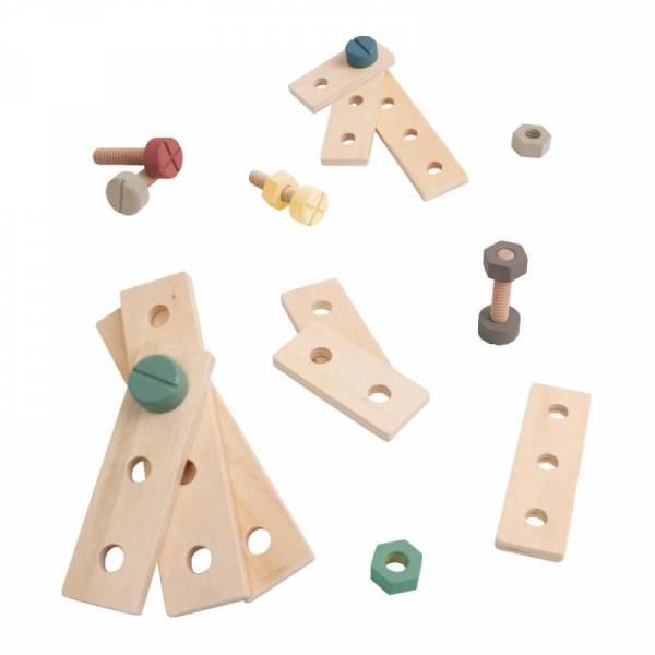 Bau-Spielset aus Holz, warm grey
