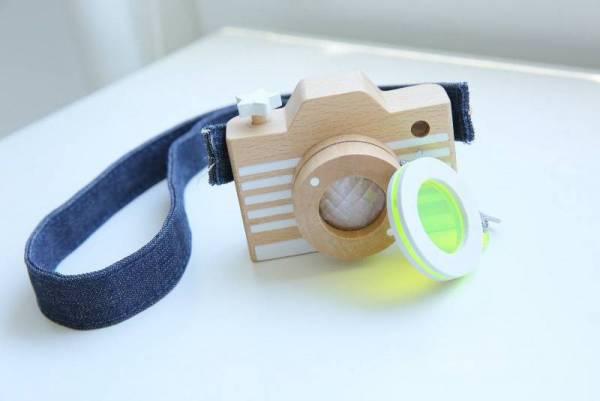 Holz-Kamera mit Kaleidoskop - Fluo Yellow