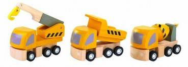 Baufahrzeuge aus Holz 3er-Set