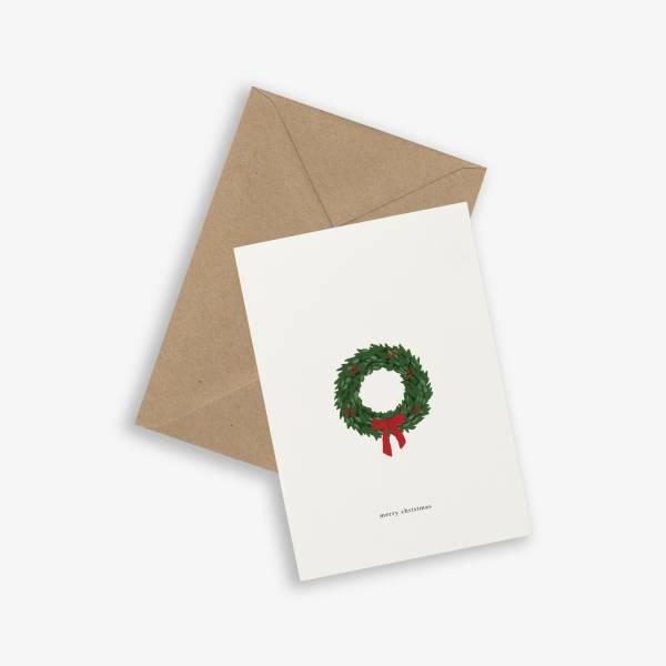 Klappkarte Weihnachtskranz Merry Christmas