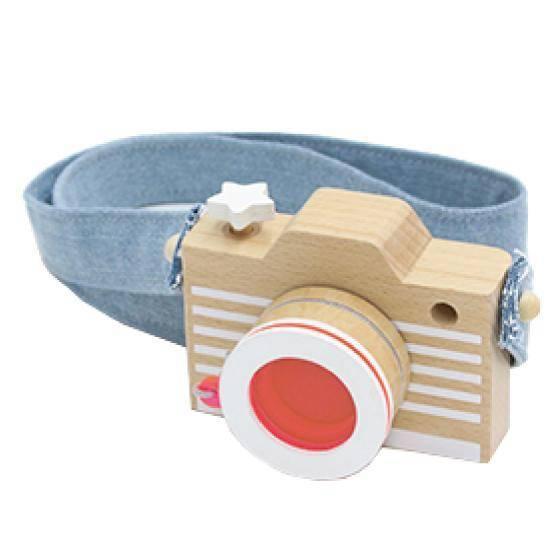 Holz-Kamera mit Kaleidoskop - Fluo Pink