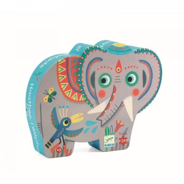 Silhouette Puzzle - Haathee der Elefant - 24 Teile - 3+