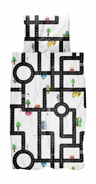 Kinder-Bettwäscheset Knetautos Clay Traffic 135 x 200 cm, inkl. 1 Kissenbezug 80 x 80 cm