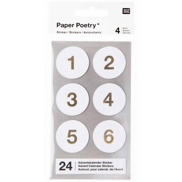Adventkalender Sticker Weiß FSC Mix Zahlen 1-24 4 Blatt 28 mm