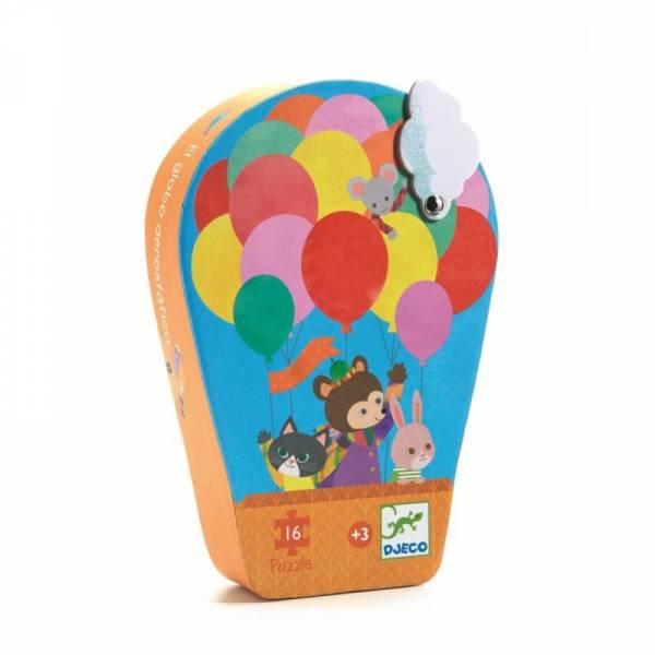 Silhouette Mini Puzzle - Der Heißluftballon - 16 Teile - 3y