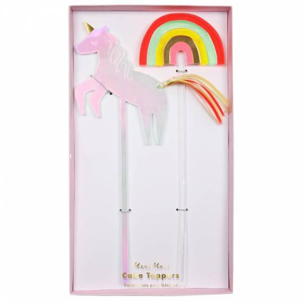 Unicorn & Rainbow Acryl Cake Topper Set