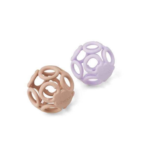 Beißringball Jasmin 2er Set light lavender rose mix