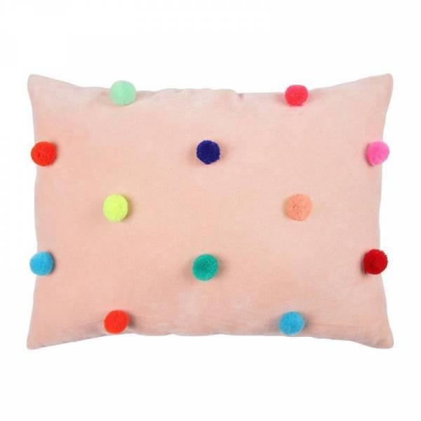 Samtkissen Velvet Pompom Cushion - rosa/bunt