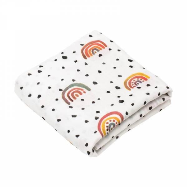 2er Set Mini-Mulltücher aus Bio-Baumwolle - Regenbogen - 60x60cm