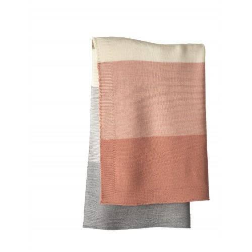 Strick-Babydecke - rose/natur 100cm x 80cm