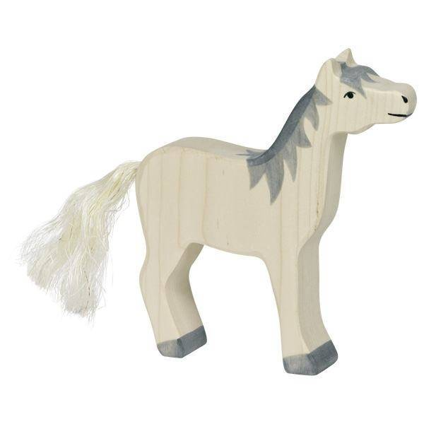 Pferd graue Mähne Holzfigur