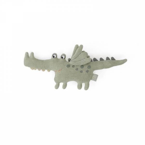 Strickrassel - Darling Rattle - Baby Buddy Crocodile - green