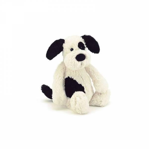 Stofftier Hund Bashful Black & Cream Puppy Small - H20cm - schwarz/weiß