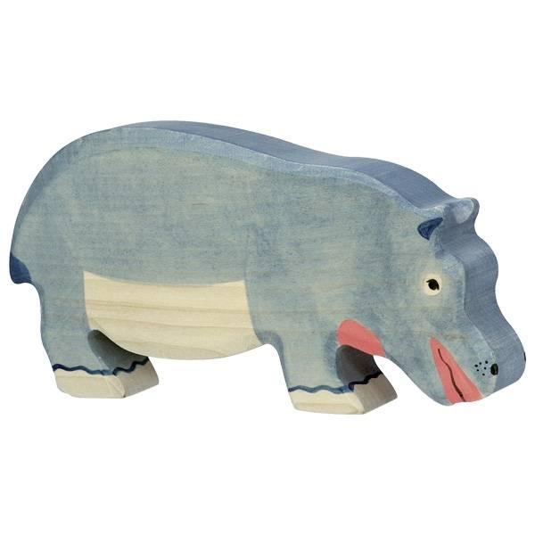 Nilpferd Flusspferd fressend Holzfigur