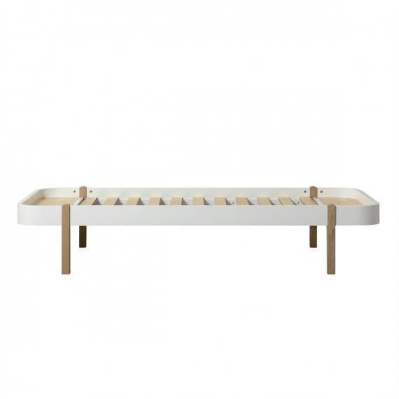 Wood Bett Lounger weiß/Eiche - 90x200cm