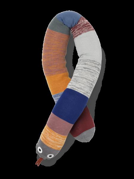 Dusty Rainbow Snake Bettschlange, gestrickt - bunt
