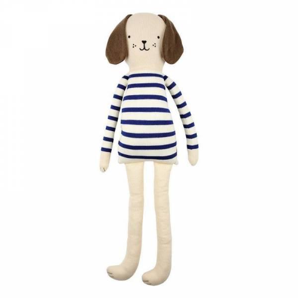 Strick Hund groß Knitted Dog Large - blau/weiß gestreift