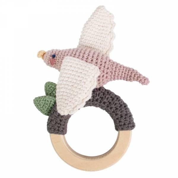 Häkel-Rassel - Vogel auf Holzring