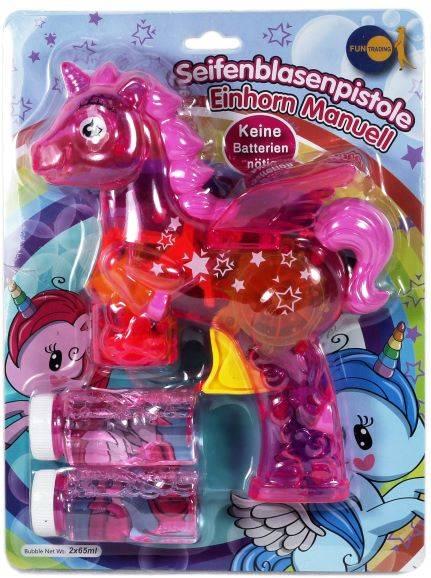 Seifenblasenpistole Einhorn pink manuell