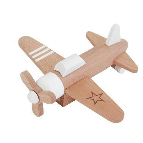 Propellerjet aus Holz - weiß