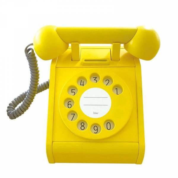 Telefon aus Holz mit Wählscheibe - gelb
