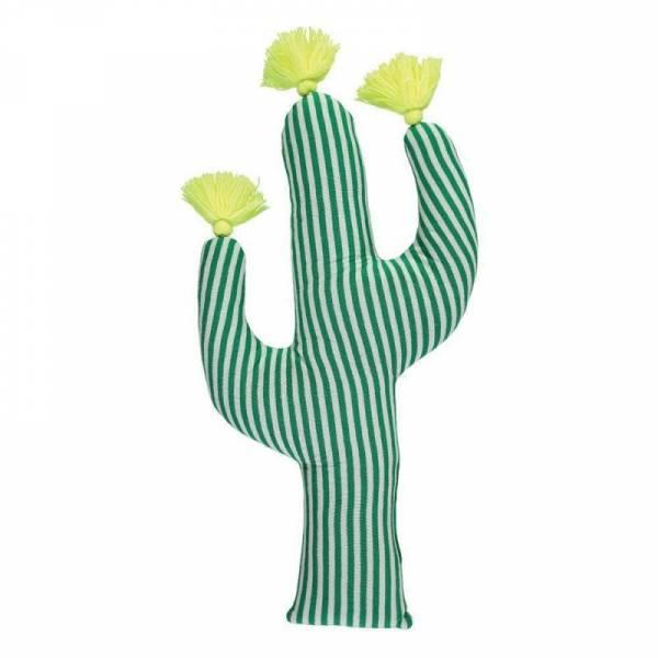 Strick-Kaktus Knitted Cactus Cushion - grün/weiß mit Neongelb
