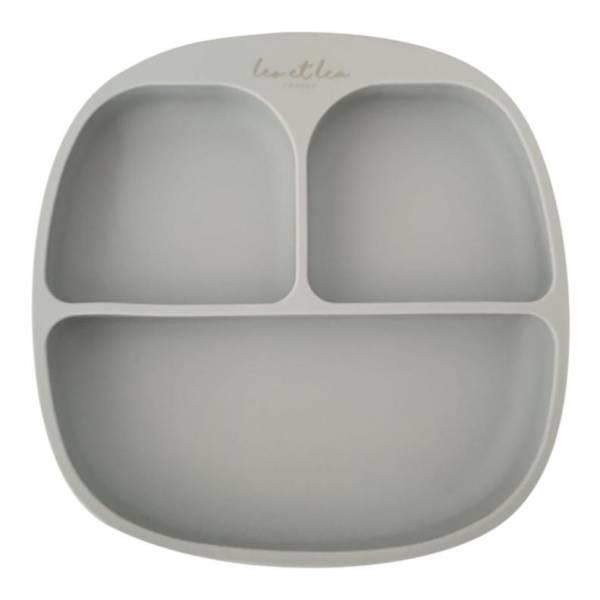 Silikon-Teller mit Einteilung Light Grey