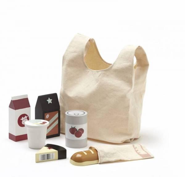 Einkaufstüte mit Lebensmitteln aus Holz
