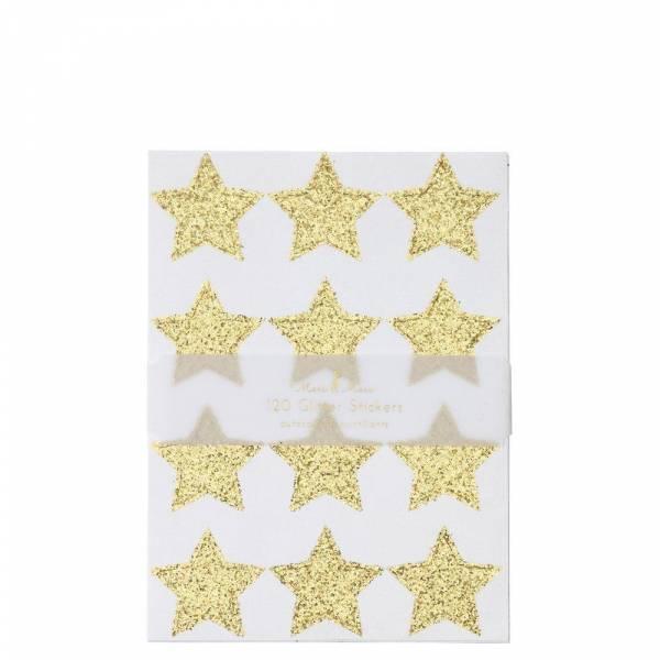 Gold Glitter Stern Sticker 120st.