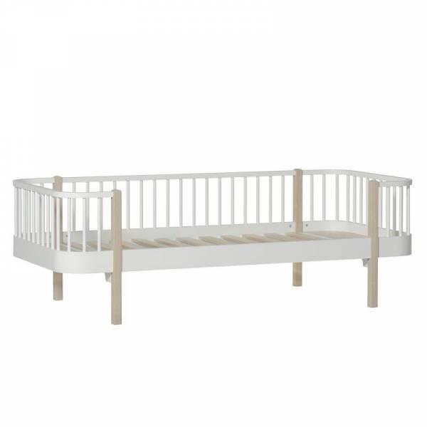 Wood Bettsofa, 90x200 cm, weiß/Eiche