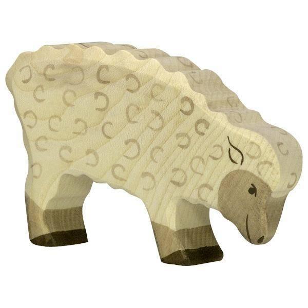 Schaf fressend Holzfigur