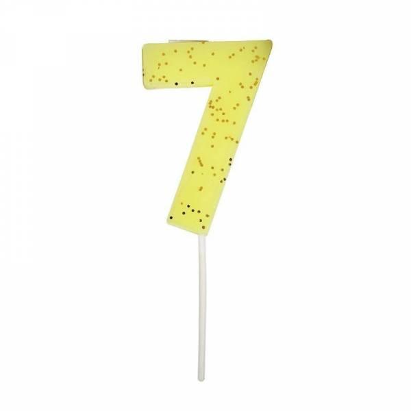 Geburtstagskerze Zahl 7 - gelb
